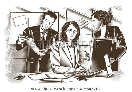 Business partners discussing documents and ideas at meeting. Engraved Vector  Stock photo © ConceptCafe