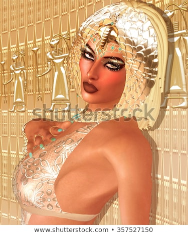 beautiful egyptian woman like cleopatra on golden background stock photo © artfotodima