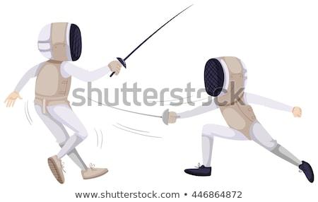 два человека ограждение иллюстрация спорт фон искусства Сток-фото © bluering