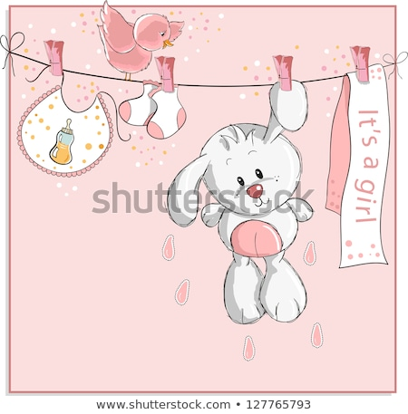 beautiful baby girl shower card with toys stock photo © balasoiu