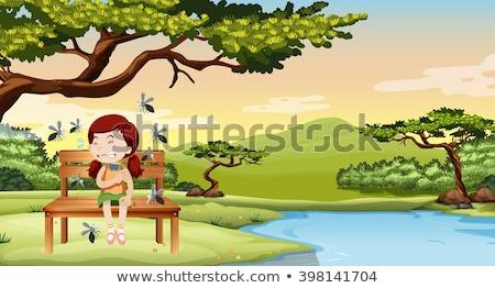 Little girl parque ilustração menina criança paisagem Foto stock © bluering