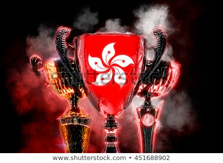 Trophy cup textured with flag of Hong Kong. 2D Digital illustrat Stock photo © Kirill_M