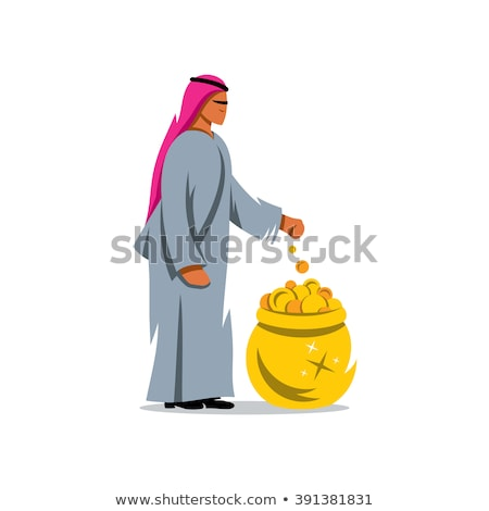 arab throwing coins isolated on white stock photo © elnur