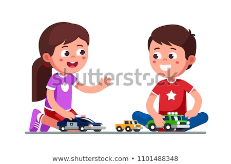 two kids playing with cars toys stock photo © zurijeta