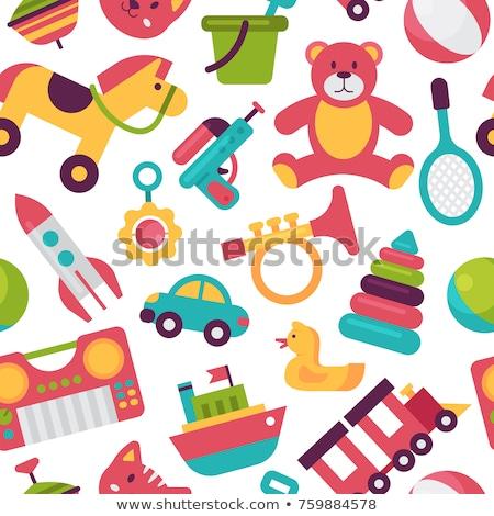 wooden shelf full of toys stock photo © bluering