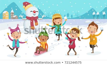 menino · menina · esqui · criança · arte · inverno - foto stock © vectorikart