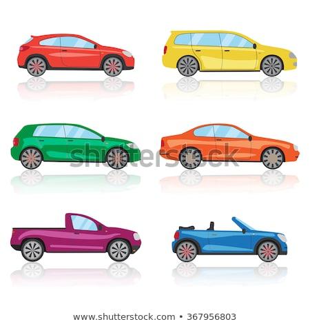 Foto stock: Carreras · coches · seis · diferente · colores · ilustración