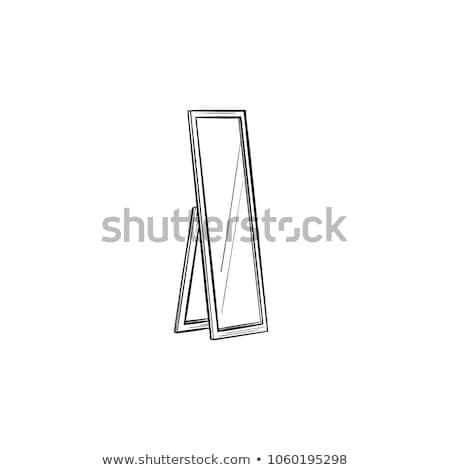 ayna · yansıma · kroki · ikon · vektör · yalıtılmış - stok fotoğraf © rastudio