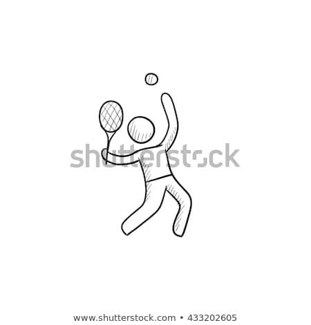 teniszező · ikon · gyűjtemény · edzés · edző · lövés · vektor - stock fotó © rastudio