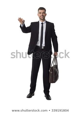 happy middle aged man holding car keys on white stock photo © ozgur