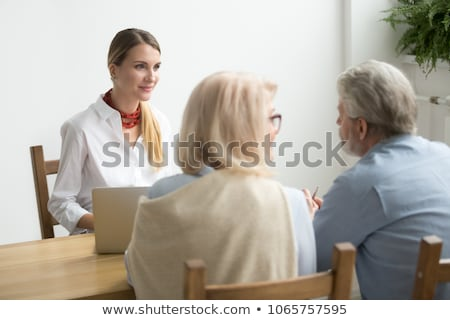 casal · de · idosos · reunião · amigos · fora · casa · homem - foto stock © monkey_business