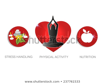 Healthy living advice symbols. Stress handling, physical activit Stock photo © Tefi