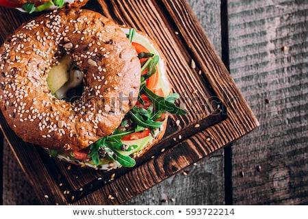 finom · lazac · szendvicsek · füstölz · lazac · hozzávalók · francia · kenyér - stock fotó © racoolstudio
