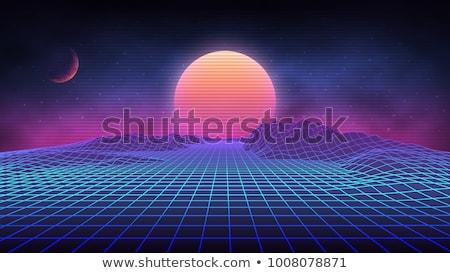Retro futuristic background with space, stars and planets Stock photo © SwillSkill