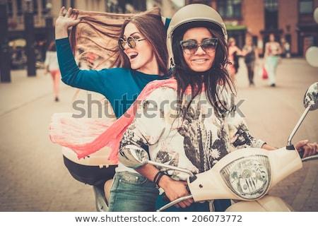 vrouw · paardrijden · asfalt · weg · bos - stockfoto © rastudio
