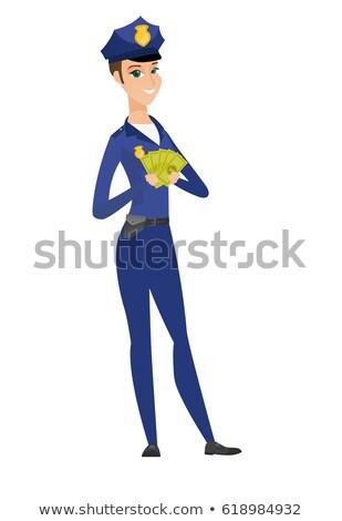 happy caucasian policewoman holding money stock photo © rastudio