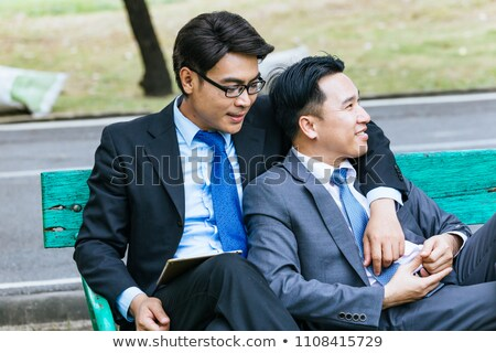 Gay Couple Happy Homosexual Men Meeting In Park Stock photo © diego_cervo