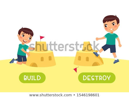 Oposto palavras construir menina criança fundo Foto stock © bluering