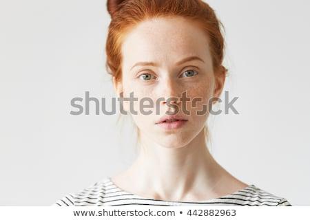 Közelkép portré fiatal gyömbér nő pózol Stock fotó © deandrobot