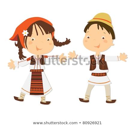 Garçon traditionnel danse heureux enfant fond Photo stock © bluering