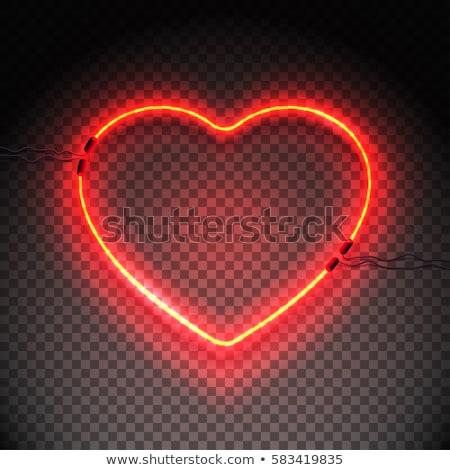 Neon szív felirat átlátszó retro fényes Stock fotó © Andrei_