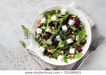 Pancar salata fındık arka plan akşam yemeği kırmızı Stok fotoğraf © yelenayemchuk