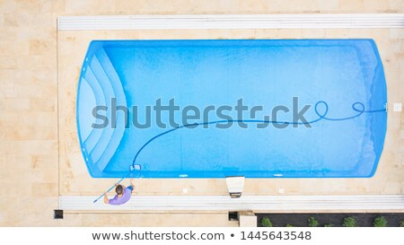 Stock photo: Aerial view of house backyard with swimming pool