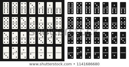 domino set vector black and white illustration realistic dominoes collection isolated on white stock photo © pikepicture