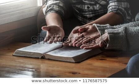 pár · imádkozik · szent · Biblia · házaspár · visel - stock fotó © lincolnrogers