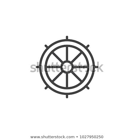 Schip stuur lijn icon vector geïsoleerd Stockfoto © RAStudio