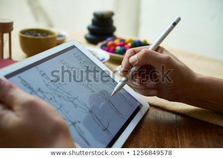 эскиз таблетка красочный иллюстрация платье Сток-фото © lenm