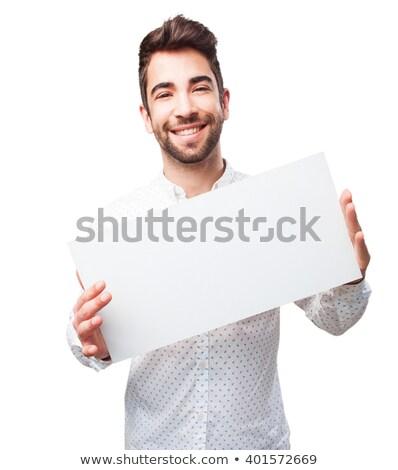 Portré izgatott derűs fickó tart tábla Stock fotó © deandrobot