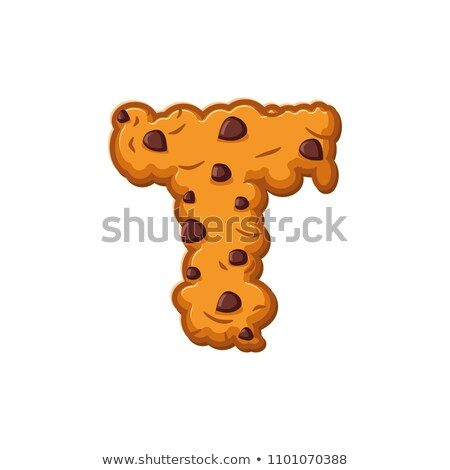 T letter cookies. Cookie font. Oatmeal biscuit alphabet symbol.  Stock photo © popaukropa