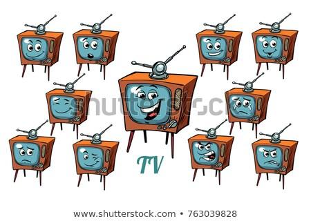 Stockfoto: Tv · emoties · ingesteld · geïsoleerd · witte