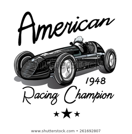 Racing car vintage illustration clip-art black and white image Stock photo © vectorworks51