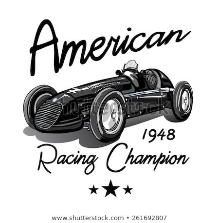 versenyzés · autó · klasszikus · illusztráció · clipart · feketefehér - stock fotó © vectorworks51