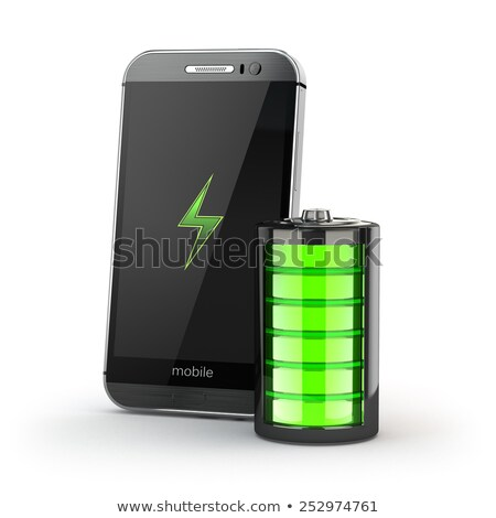 3d Illustration of Charged Smartphone with full green battery, isolated black stock photo © tussik