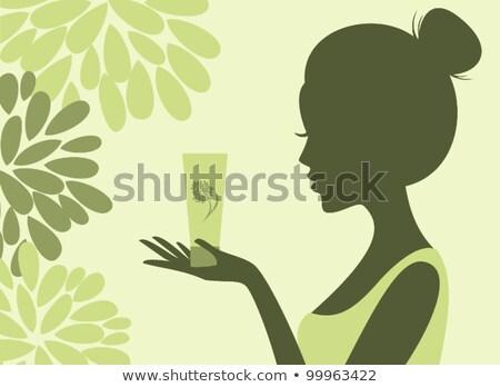Silhouet vrouw fles wijnfles meisje Stockfoto © CsDeli