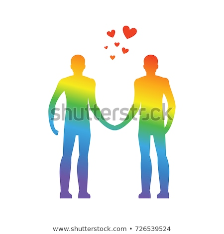 Gay love. LGBT heart. Guys hold hands. Together forever. Vector  Stock photo © MaryValery
