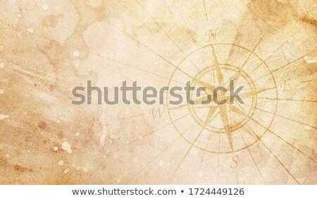 iránytű · arany · világtérkép · égbolt · terv · háttér - stock fotó © milsiart