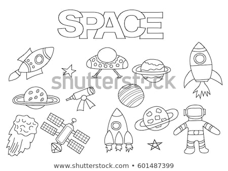 space satellite coloring book space station vector illustratio stock photo © popaukropa