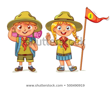 A Cute Boy Scout on White Background Stock photo © bluering