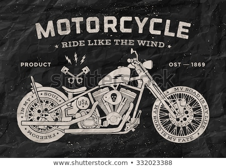 Vintage race motorcycle old school style. Poster and print for t-shirt. Vector illustration. Stock photo © FoxysGraphic
