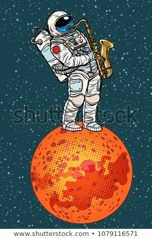 Astronaut saxofoon pop art retro komische cartoon Stockfoto © studiostoks