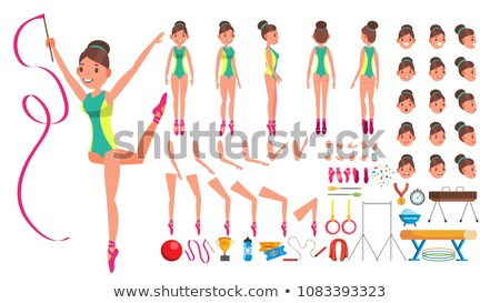 Stock photo: Gymnastics Female Vector. Animated Character Creation Set. Gymnastic Woman Full Length, Front, Side,