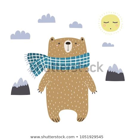 cute funny bear character   landscape illustration stock photo © rwgusev