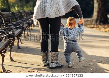 Anya baba fiú ősz park szórakozás Stock fotó © boggy