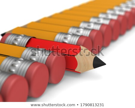 unique red wooden pencil with eraser standing out from the orang Stock photo © ISerg