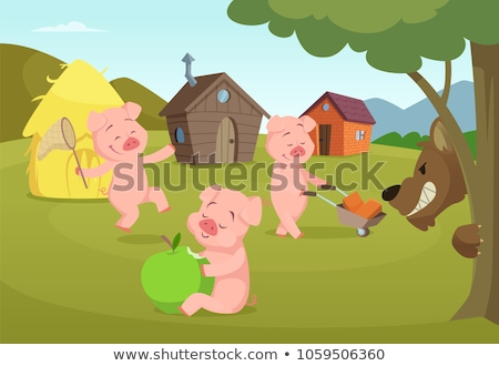 Three Little Pigs and Scary Wolf Illustration Stock photo © artisticco