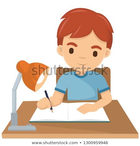 Gyerek fiú ír ceruza illusztráció aranyos Stock fotó © lenm